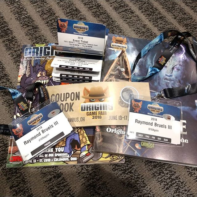 Origins 2018, day one. Press badge, regular badge, tickets and booklets. On to day two! #d10Again #origins2018 #originsgamefair2018  #gaming #rpg