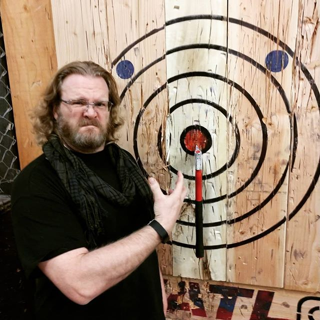 My war face at axe throwing.