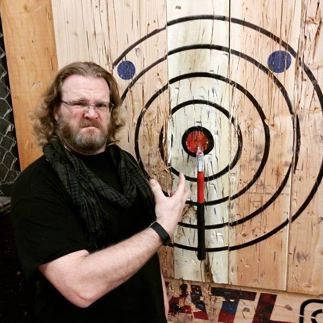 My war face at axe throwing.