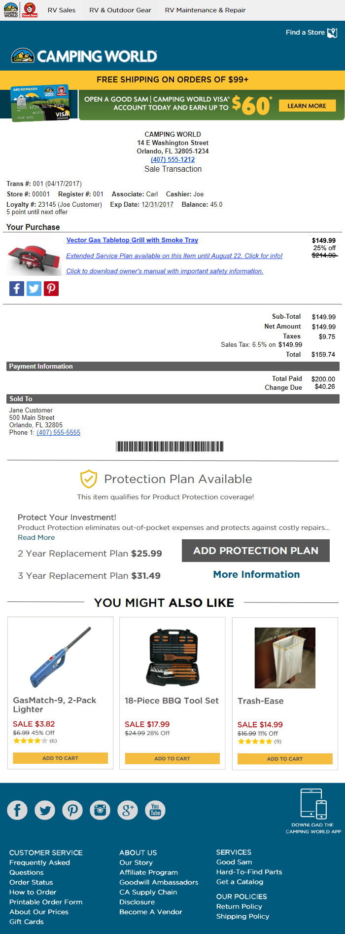 Next Level Camping World Receipt -  Click on Image to view larger