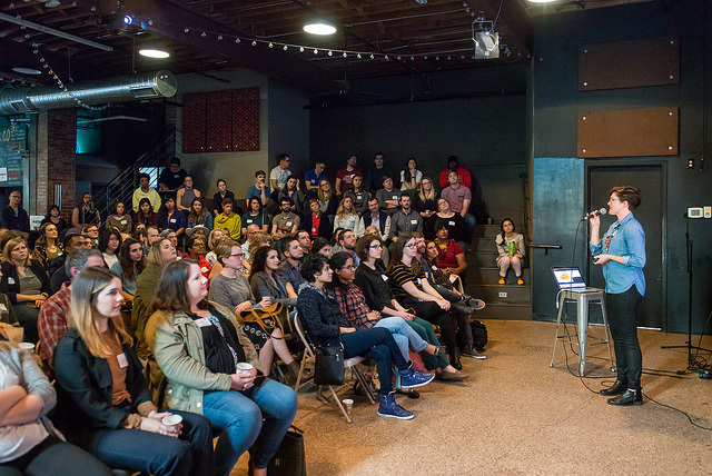 Mailande presenting a talk on curiosity at the  RDU chapter of the Creative Mornings  series. (Photo:  Miller Taylor )