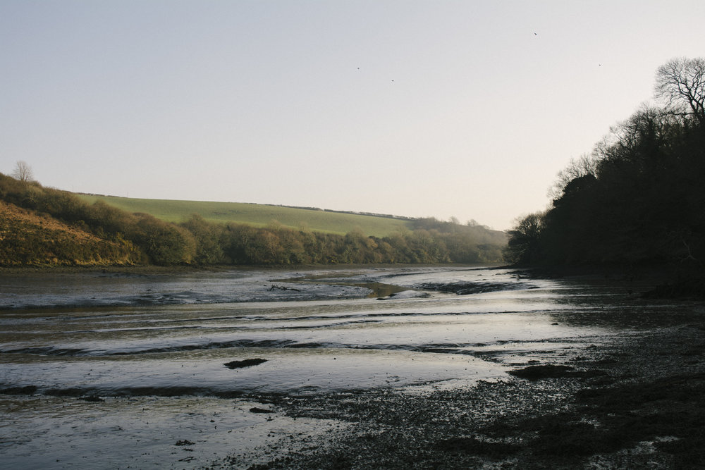 Mud flats along the Helford River, Cornwall. Taken by photographer Ruaidhri Marshall