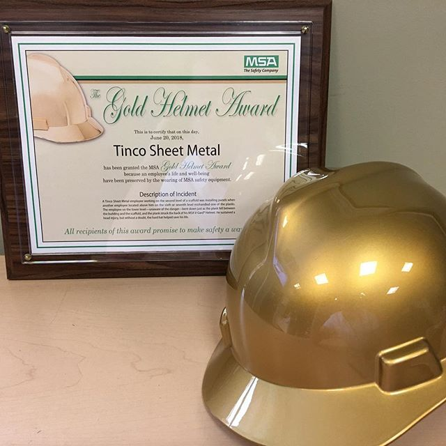 Tinco Sheet Metal has just earned the Golden Helmet Award for wearing the appropriate safety gear and preventing serious injury! Thank you to our team for their continued commitment to being safe