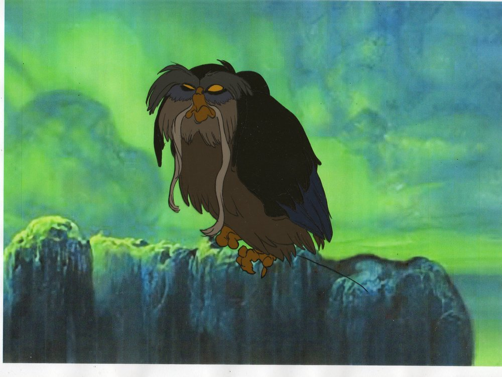 Original Production Cel Of The Great Owl From The Secret Of Nimh