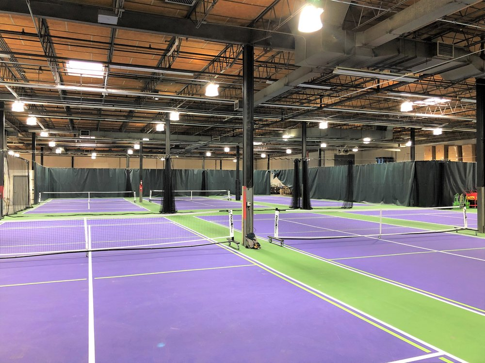 Glenbrook Paddle Club has 6 indoor pickleball courts and 2 half-court practice courts