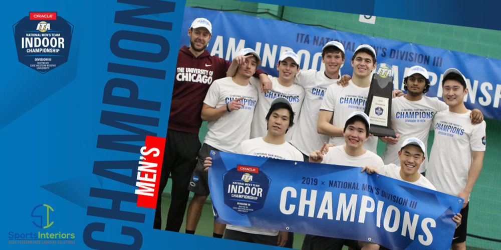 """This past weekend the 2019 ITA Division III National Men's Team Championships took place in Cleveland, Ohio, hosted by Case Western Reserve University at the Cleveland Racquet Club. The top 8 men's teams from across the country gathered to compete for the title and the University of Chicago went into the weekend as the top seed, looking to dethrone the #2 seed and reigning champion, Emory University. After some fantastic matches during the weekend, it came down to a classic matchup of 1 vs 2 with Emory and Chicago set to battle for the title. Chicago Head Coach Jay Tee said, """"We wanted to be emotional and loud and play to win, so we focused more on the point in front of us and the title at the end of the road."""" When the doubles ended, Chicago held a 2-1 lead with Emory capturing a nailbiting point at 3 doubles with a win of 8-7 (7)"""