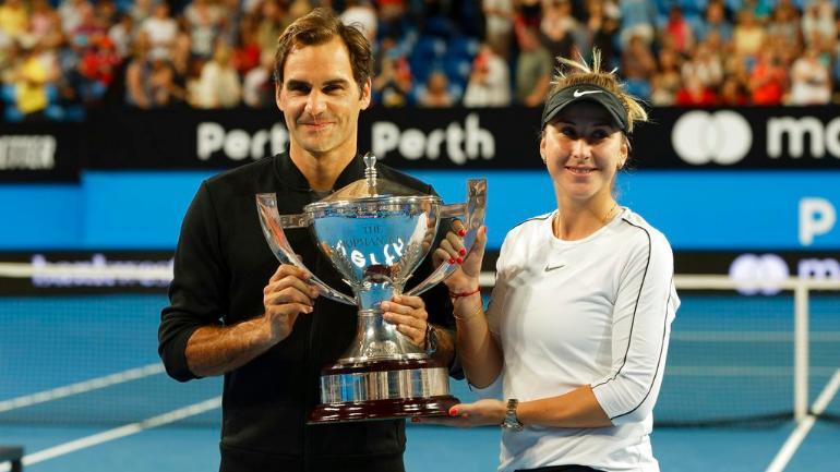 Roger Federer & Belinda Bencic with the 2019 Hopman Cup Championship Trophy