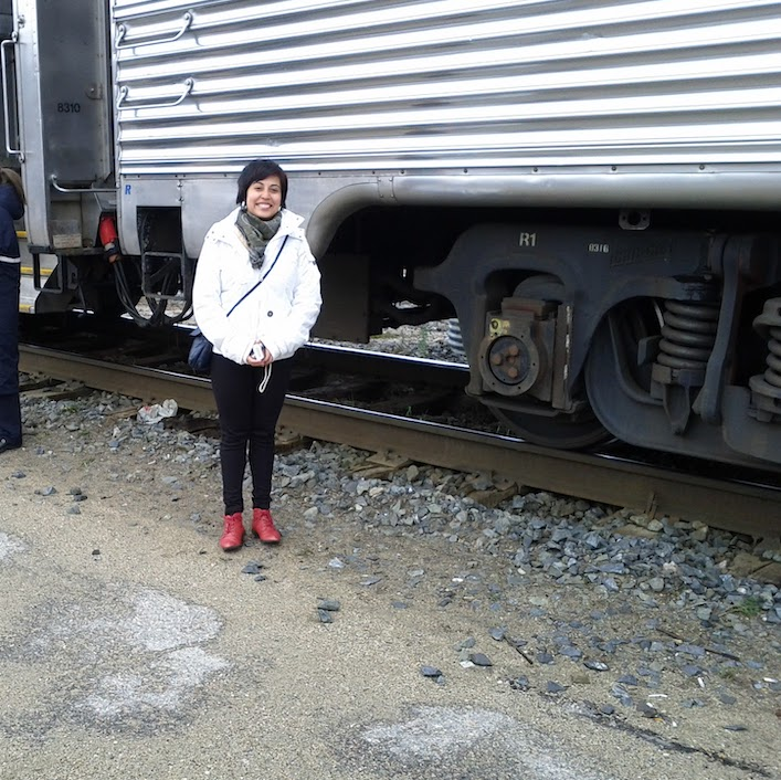 Me boarding the train across Canada - it took us a week to get to Vancouver from Toronto. I loved it!