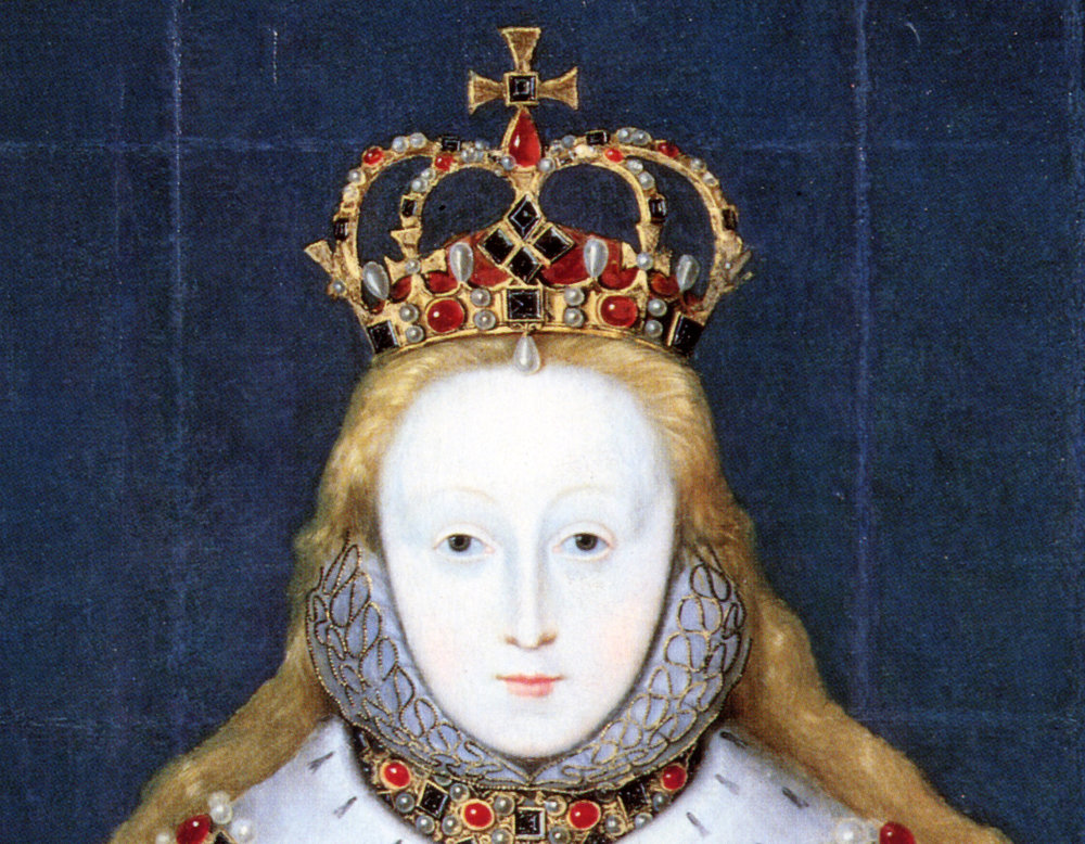 The crown is based on this portrait of Elizabeth 1 by an unknown artist c. 1600. National Portrait Gallery, London.