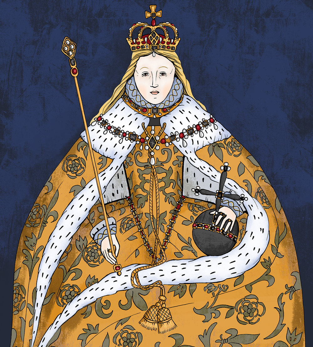 Coloured illustration from  Colouring History: Tudor Queens and Consorts  based on the original painting.