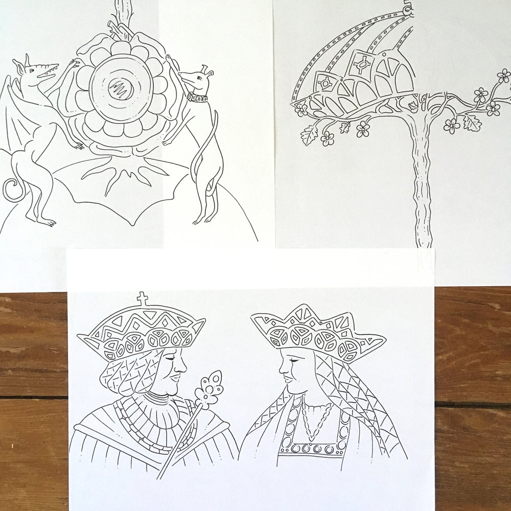 "Original sketches for the ""Sudbury Hutch"" page in  Tudor Queens and Consorts ."