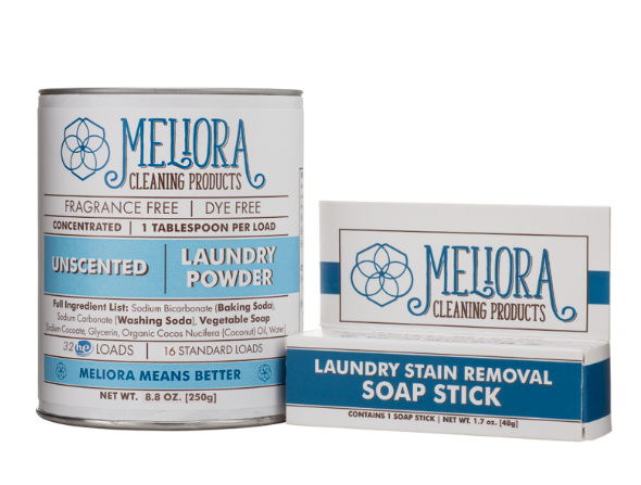 "Meliora Laundry: ""Meliora means better"" This brands is committed to creating high quality cleaning products that work. Their home cleaning and laundry products are MADE SAFE certified. - Laundry Powder, 32 HE (16 Standard) Loads: The cardboard/steel canister is easy to recycle or reuse. Net Wt. 8.8 oz.Soap Stick for Stain Pre-treatment: Simply wet the stained area on your clothes, rub our Soap Stick into the stain, and wash like normal. Works great on greases, oils, and natural deodorant stains. Net Wt. 1.7 oz."