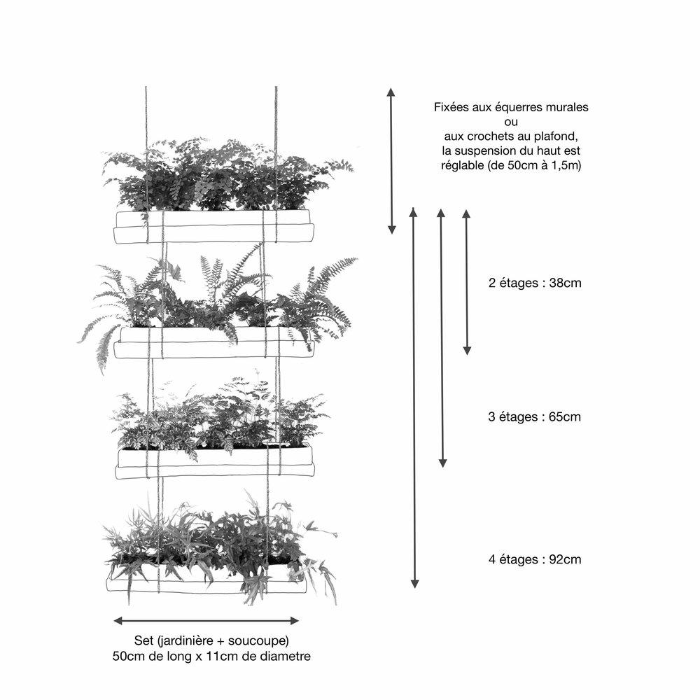 Agencement - Les jardins se suspendent au plafond ou au mur.Dans les 2 cas, équipez-vous du kit de suspension correspondant au nombre d'étages que vous souhaitez installer.La suspension murale nécessite également une paire d'équerres.Les attaches supérieures sont réglables, les attaches intermédiaires sont fixes (voir mesures sur schéma).