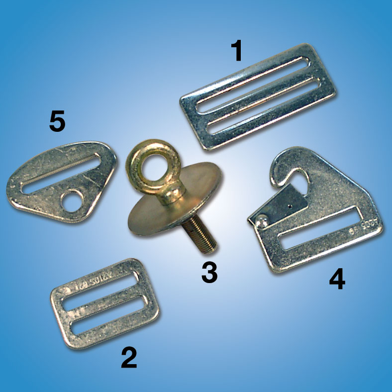 Seat Belt Mounting Hardware   Mounting hardware for all seat belt systems.   1. 3 inch Adapter  Part #5212 — $6   2. 2 inch Adapter  Part #5209 — $6   3. Eye Bolt Kit  Part #80053 — $8   4. Snap Anchor  Part #80060 — $5   5. Bolt Anchor  Part #1006 — $5.25