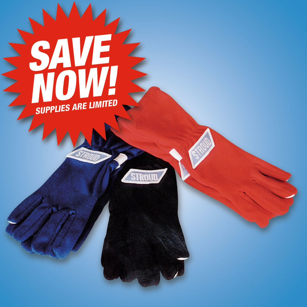 PREMIUM DRIVING GLOVES   The finest driving gloves using the thinnest SFI approved material available. These gloves have thin Nomex on the outer index finger and thumb for maximum feel.   Blue Driving Gloves SFI 3.3/1 #1100  Size S: 2 remaining Size M: 2 remaining Size XXL: 3 remaining   Red Driving Gloves SFI 3.3/1 #1100  Size S: 8 remaining   Blue Driving Gloves SFI 3.3/20 #1130  Size XL: 15 remaining Size XXL: 9 remaining   Black Driving Gloves SFI 3.3/20 #1130  Size S: 1 remaining Size L: 11 remaining Size XL: 3 remaining Size XXL: 6 remaining