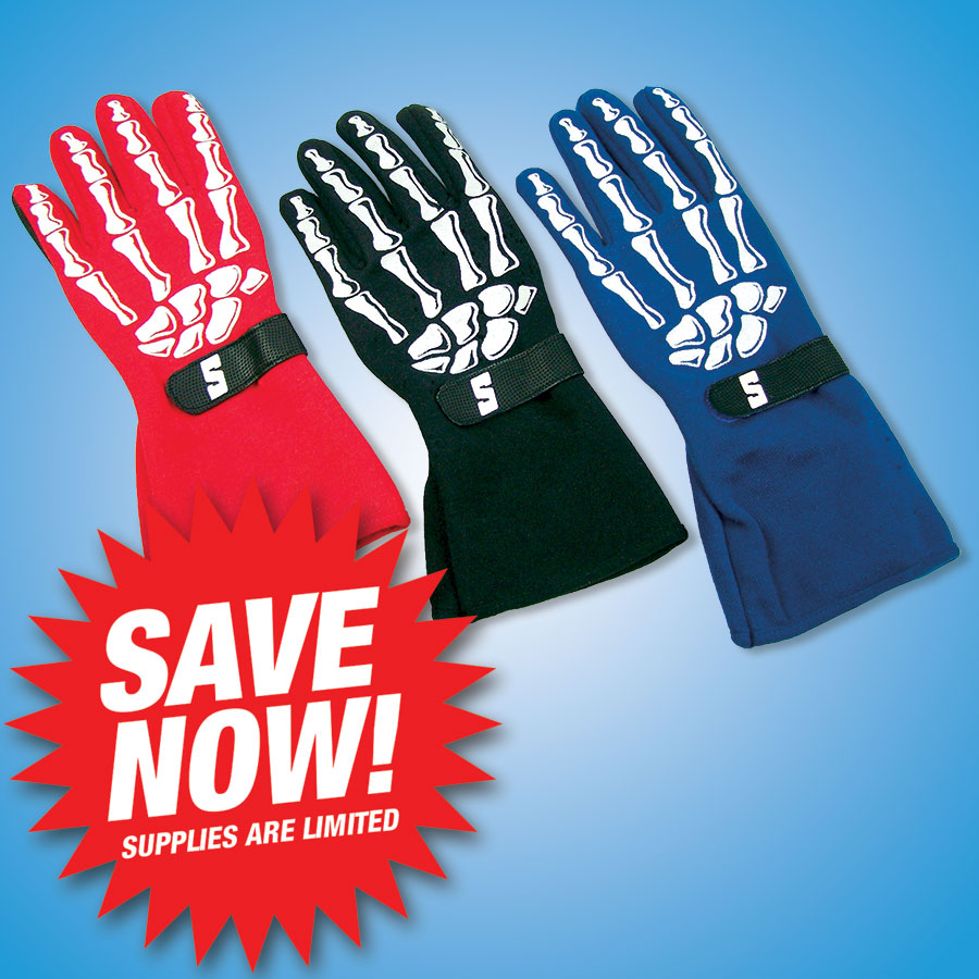 PREMIUM BONES DRIVING GLOVES   Eye-catching design and durable construction with padding where you need it.   Red Bones Driving Gloves SFI 3.3/1- #1100  Size S: 1 remaining Size M: 5 remaining Size L: 4 remaining Size XL: 4 remaining   Black Bones Driving Gloves SFI 3.3/1- #1100  Size M: 6 remaining   Blue Bones Driving Gloves SFI 3.3/1- #1100  Size S: 1 remaining Size M: 4 remaining Size L: 6 remaining Size XL: 2 remaining