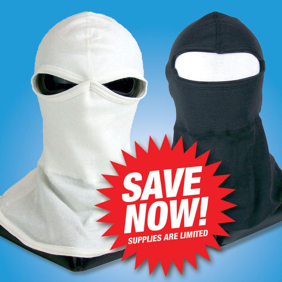 NOMEX HEADSOCK   Provides protection for the head and neck. One size fits all. Available in two and one hole, black or white.  Nomex Headsock #820