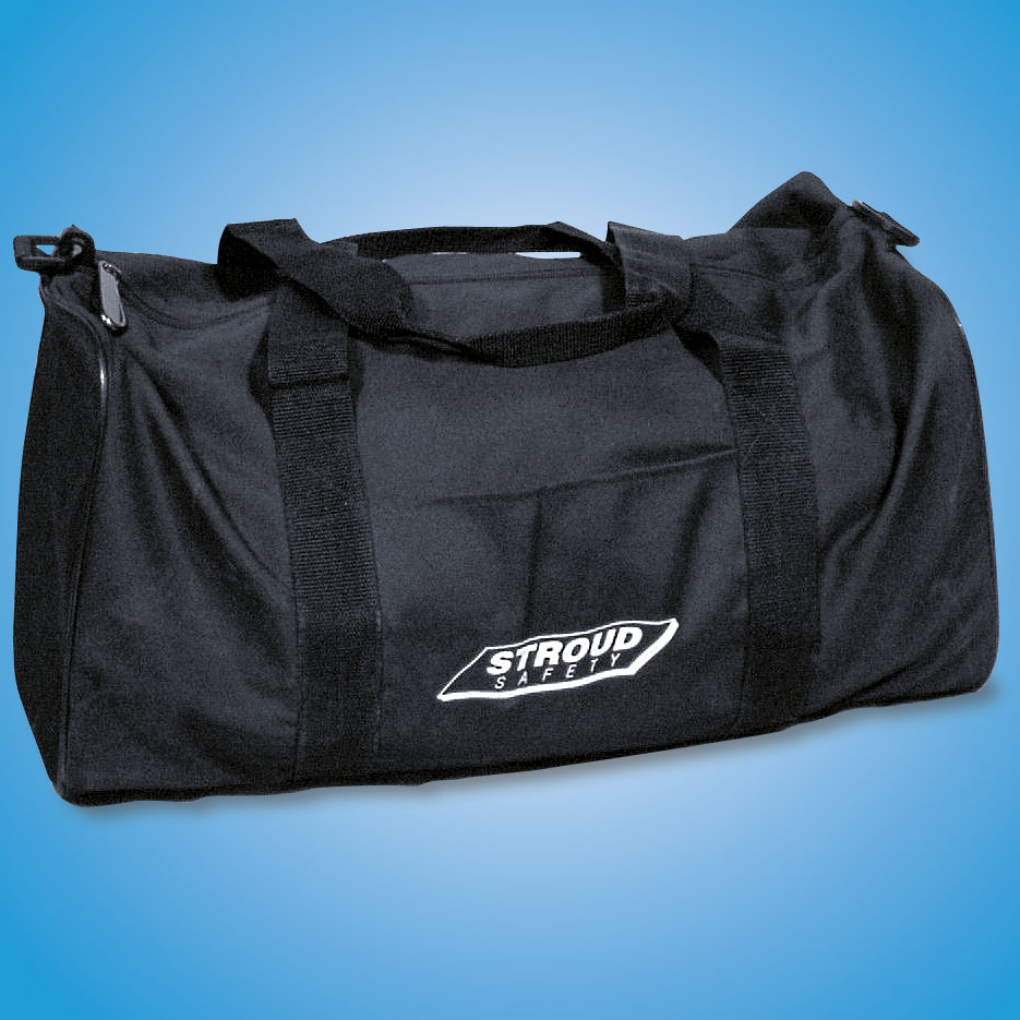 EQUIPMENT BAG   The Stroud equipment bag is just the right size to carry fire suit, driving shoes and gloves to the track. Comes in black only.  Part #806 — $42