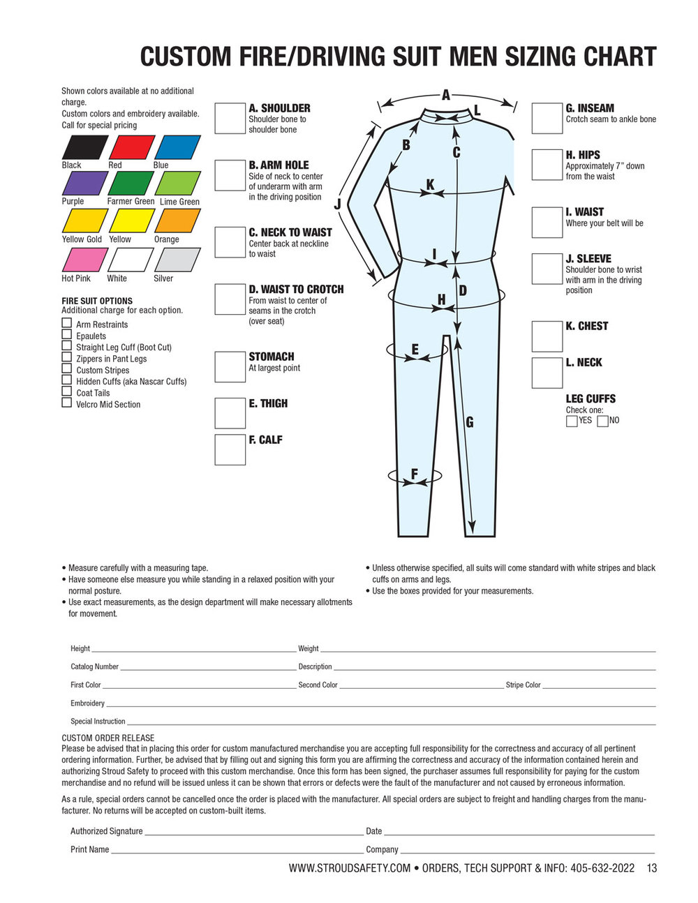 Download men's sizing form here.