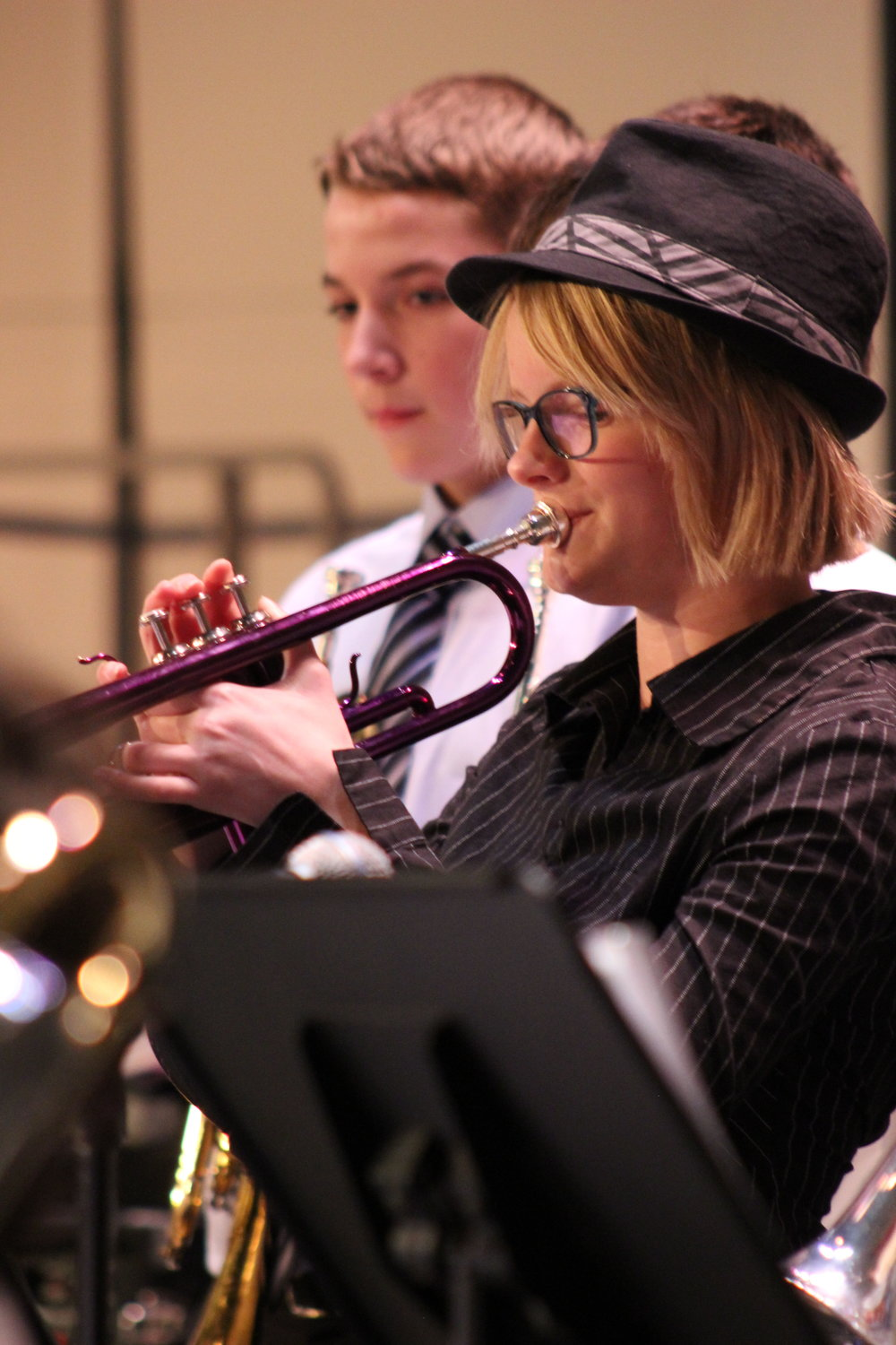 Student trumpet player in concert at a district festival