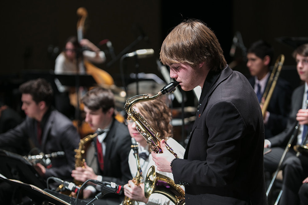 Saxophone soloist in performance at All-State Jazz Night