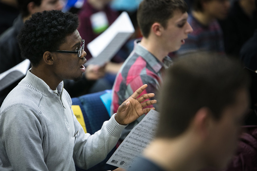 Student in rehearsal for All-State Chorus