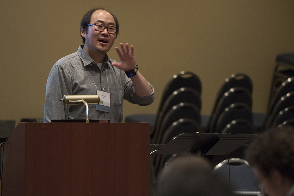 Clinician behind podium at the Illinois Music Education Conference
