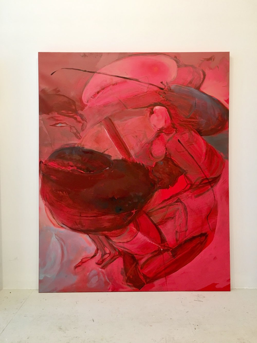 oil, lacquer, liquid rubber and house paint on canvas 60x48