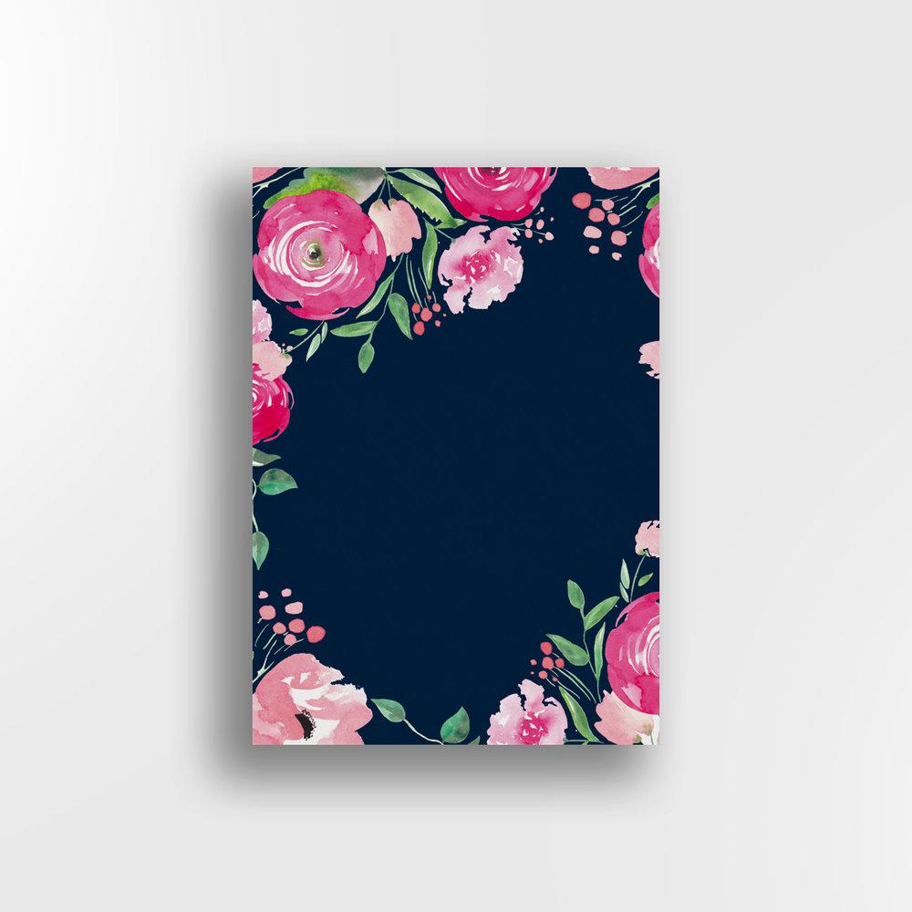 Pink Petals / Navy Background