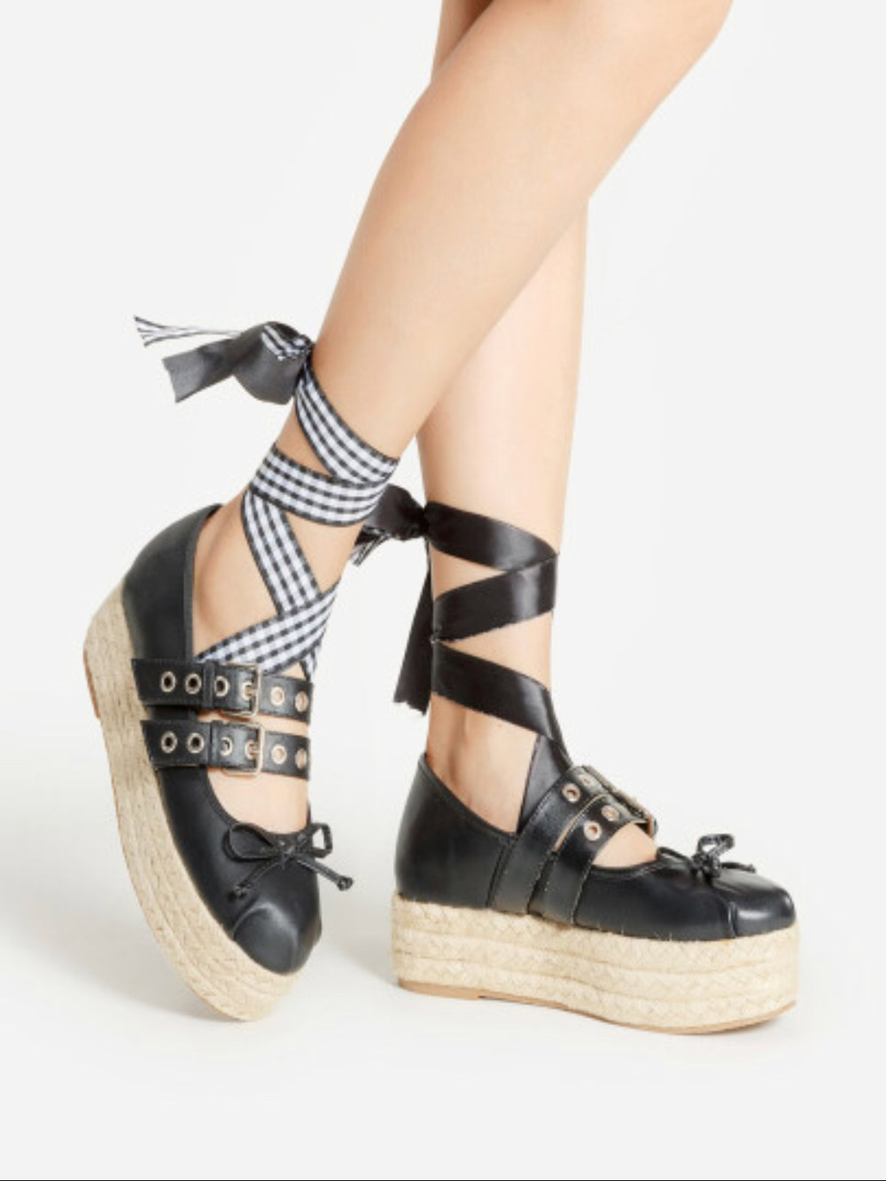 Bow Tie Platform Wedges   Bow Tie Detail Asymmetry Design Woven Wedges