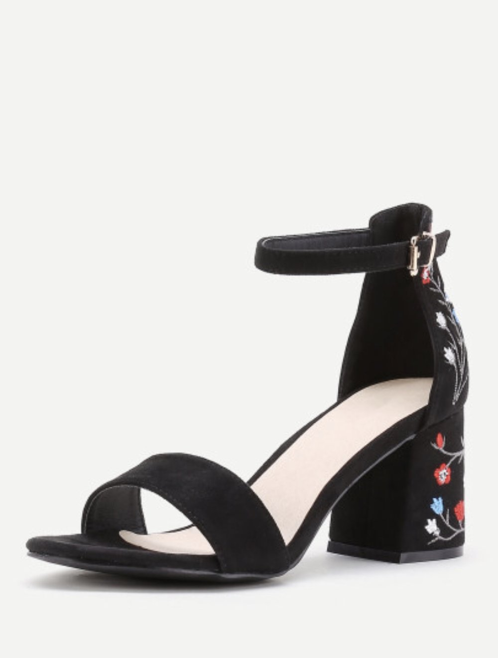 Embroidery Strap Heel's    Flower Embroidery Ankle Strap Heels