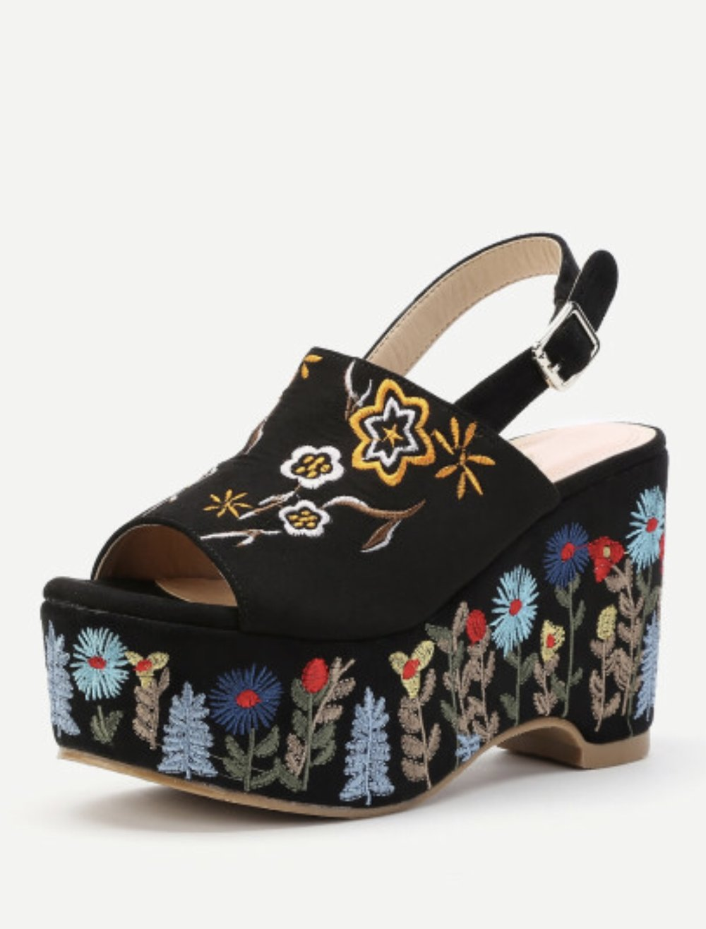 Flower Embroidery Wedge Sandals   Flower Embroidery Denim Wedge Sandals
