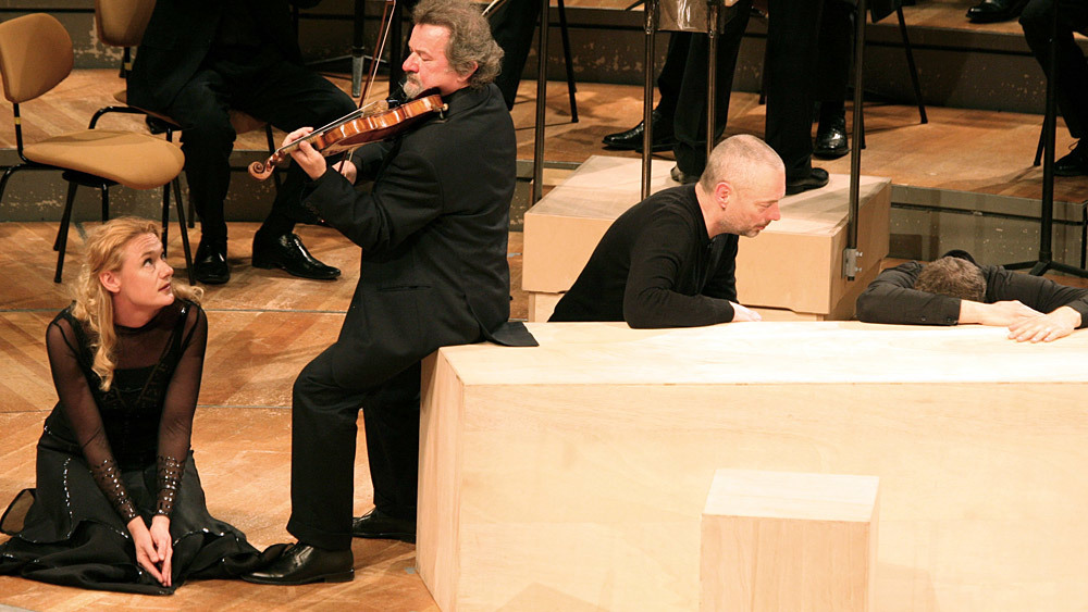 Magdalena Kozena, Daniel Stabrawa, and Mark Padmore in St. Matthew Passion (Photo: Andreas Knapp/Berlin Philharmonic)