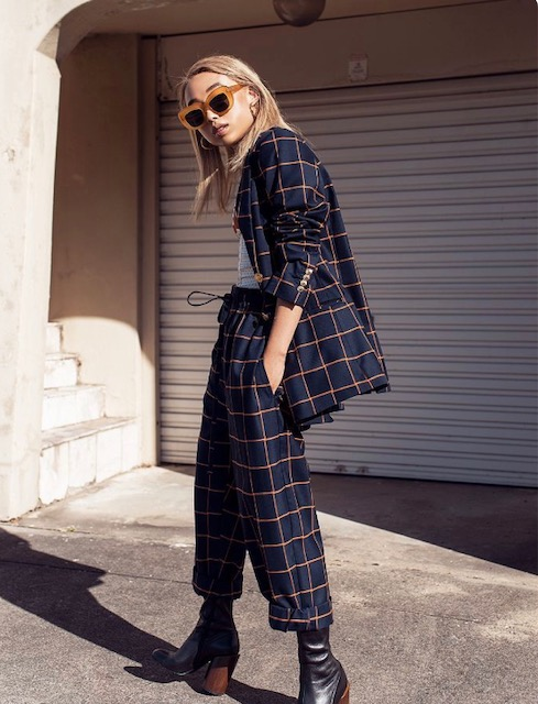 Edgy Appeal - Now this look is not for everyone but is definitely a look and I love it. Its all about the accessories here, they instantly change the feel of a basic suit. I suggest a plaid, a funky print, or basic black in order to play up the edgy appeal. Pair with boots or cut out heels and of the moment sunglasses like the ones in this photo or a cat eye pair.