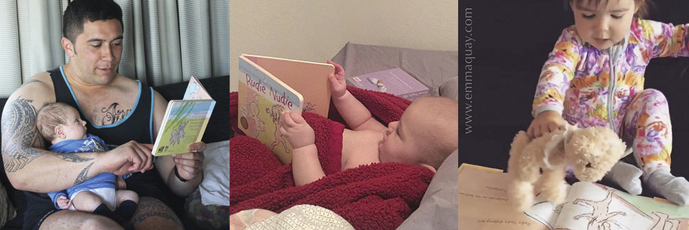 Growing up reading RUDIE NUDIE, a picture book by Emma Quay (ABC Books) - many thanks to the families of Israel, Theo and Elsie for sharing these lovely moments with me
