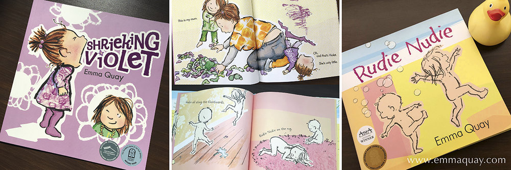 SHRIEKING VIOLET and RUDIE NUDIE - picture books by Emma Quay (ABC Books)