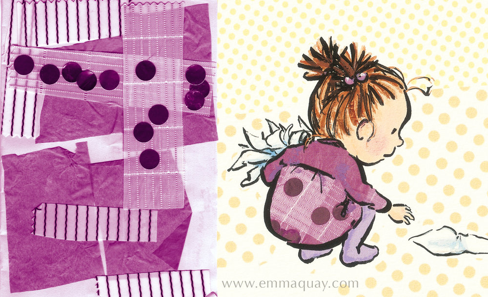 To add colour and pattern to the characters' clothes, I used some of my daughters' artwork from their preschool days. This is a collage by my younger daughter, using fabric, paper, tissue and metallic stickers. I scanned the collage and used it for one of Violet's dresses.