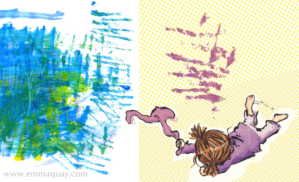 To depict the sounds coming from Violet's mouth, I also used sections of my daughters' paintings from preschool. The different marks here had been made by printing with the edge of a piece of card, splattering paint onto the paper and by varying the way the paintbrush was held. These images were great for expressing Violet's changing moods – especially her tantrums!