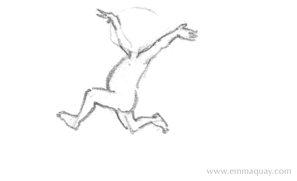 and this one was never given a head!  But despite that, I quite like this drawing. Again, I can see some 'history' in it: my drawing process is quite visible. I can see evidence of my thoughts as I worked out where to draw the legs, to express movement and energy in the best way I could. I don't mind those extra little lines in there – they make the drawing seem more alive, somehow. I left a lot of lines like this in the final illustrations for  Rudie Nudie  – I didn't rub them out.