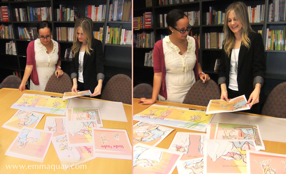 This was an exciting day: the printers had sent the colour proofs for us to check. Here, Chren Byng and Tegan Morrison from ABC Books are looking at all the pages. They look happy, because they were – we all were. The colours were just right!