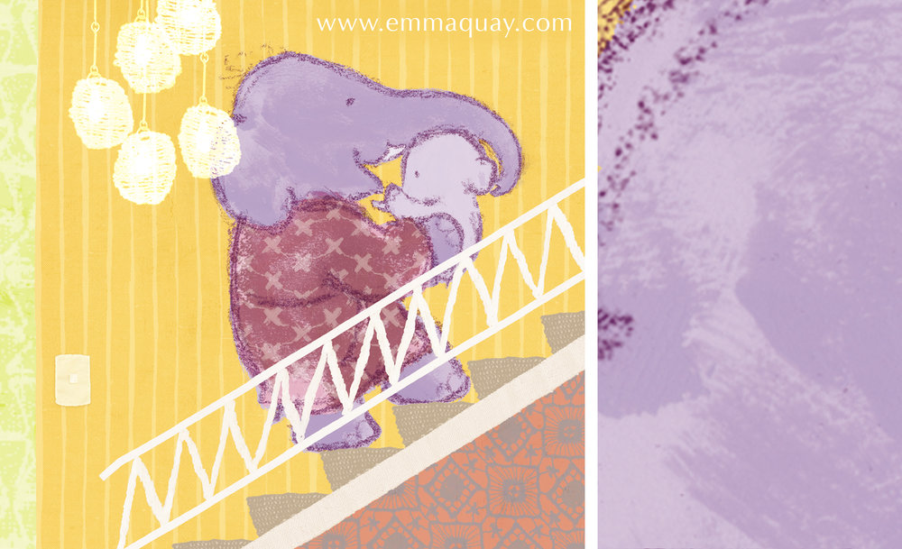 I used finger painting to colour the elephants. I liked the fact it didn't allow me to get too fussy about colouring neatly within the lines.