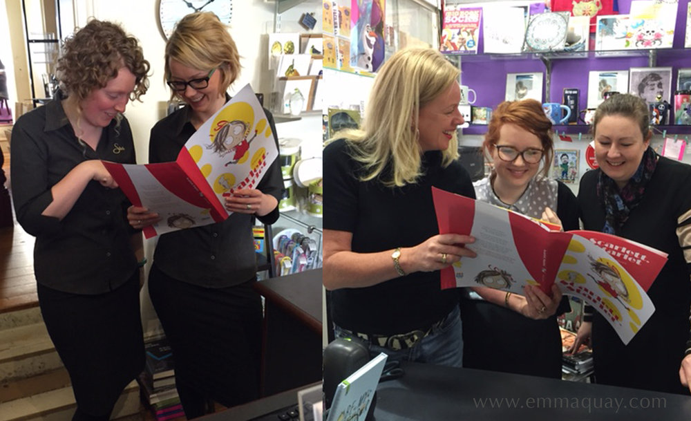 The files were then sent to the printers, and at this stage the sales reps from HarperCollins got busy, travelling around the country and showing new books to booksellers. Here, sales rep Kathleen is showing an unbound BLAD (book layout and design – pre-publication sales material) for  Scarlett, Starlet  to staff at the Ellison Hawker Bookshop and the State Cinema Bookstore, in Hobart.
