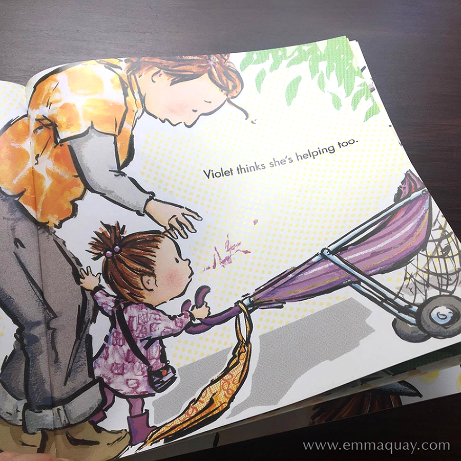 "Illustration by Emma Quay from SHRIEKING VIOLET (ABC Books) • http://www.emmaquay.com ""Violet thinks she's helping too."""