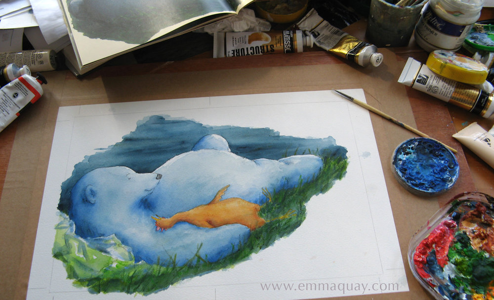 This artwork – the final spread – is half painted. Chook doesn't yet have his red comb and wattle and there are no shadows or texture on Bear's fur.  You may have noticed that the first book is open on my desk –I referred to my original artworks continually. I wanted the final two spreads, with Bear and Chook lying by the pond and watching the moon, to be similar enough to reassuringly echo the corresponding scenes in the first book, but not to replicate them exactly.