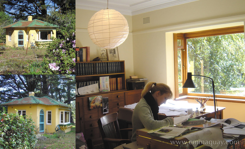 In the autumn of 2004, I worked on all the pencil roughs for  Good Night, Me  during a residential fellowship at Varuna, The National Writers' House in The Blue Mountains. The uninterrupted time to work and concentrate in Eleanor Dark's garden studio meant I got lots done in the three weeks I was there.