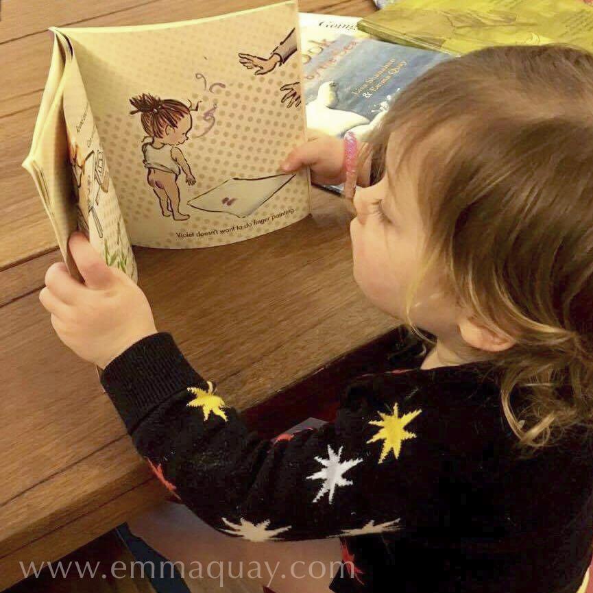 Charlotte reading SHRIEKING VIOLET, apicture book by Emma Quay (ABC Books) — www.emmaquay.com