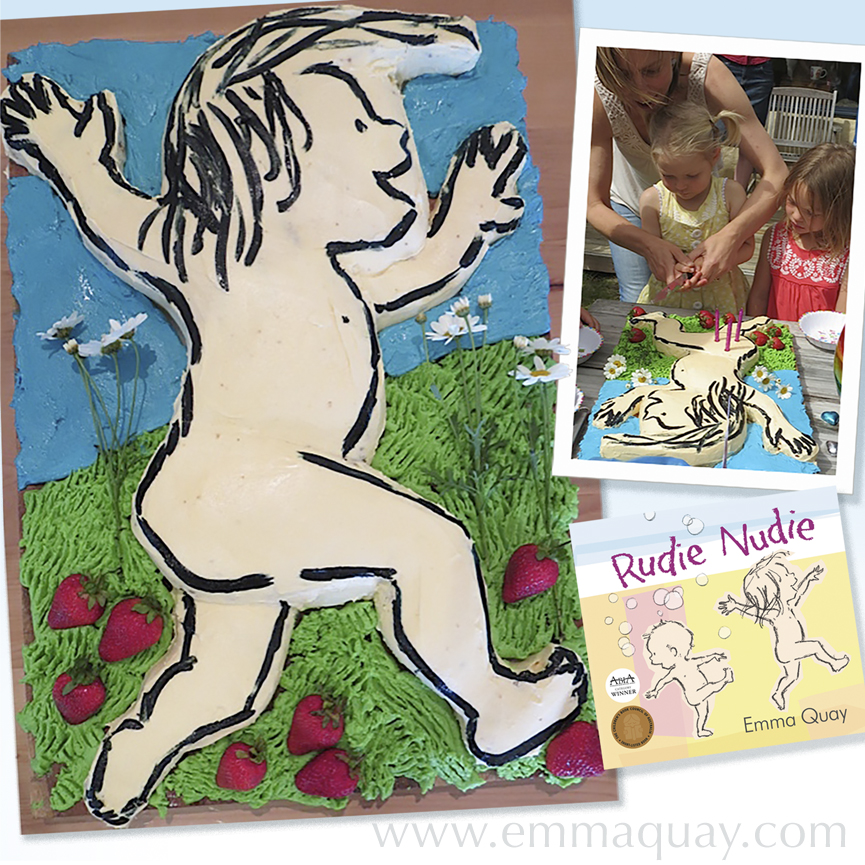 A RUDIE NUDIE birthday cake, based on the illustrations by Emma Quay (ABC Books), http://www.emmaquay.com