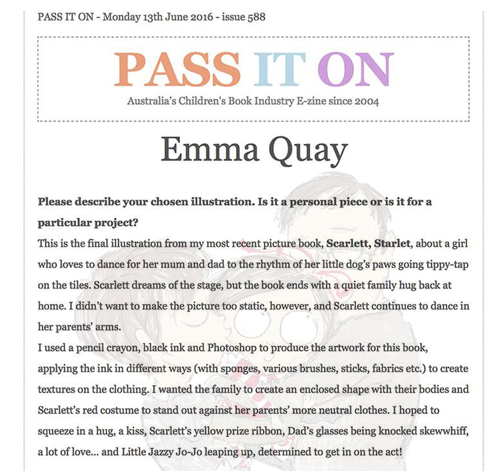 PASS IT ON interview with Emma Quay, picture book illustrator and author, June 2016 • http://www.emmaquay.com