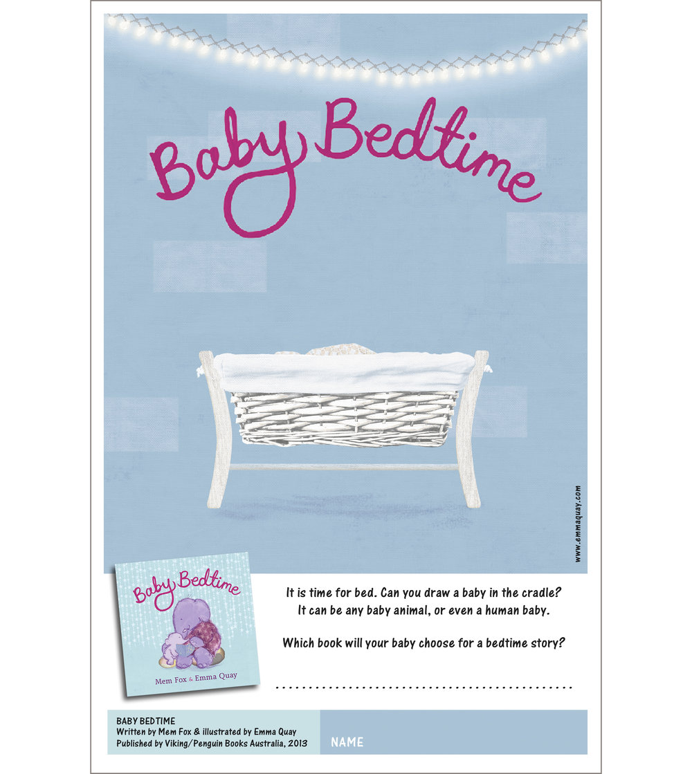 BABY BEDTIME drawing activity • http://www.emmaquay.com