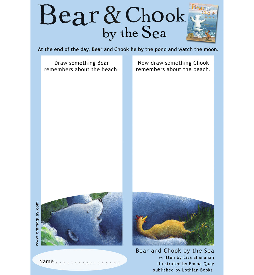 BEAR AND CHOOK BY THE SEA drawing activity • http://www.emmaquay.com